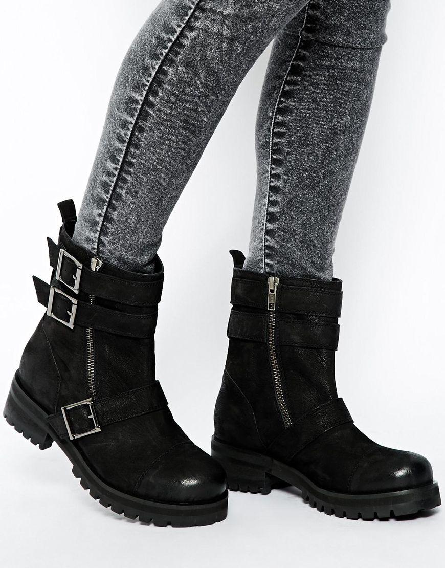 38c9c6233a0 ASOS Black Ant Leather Biker Boots