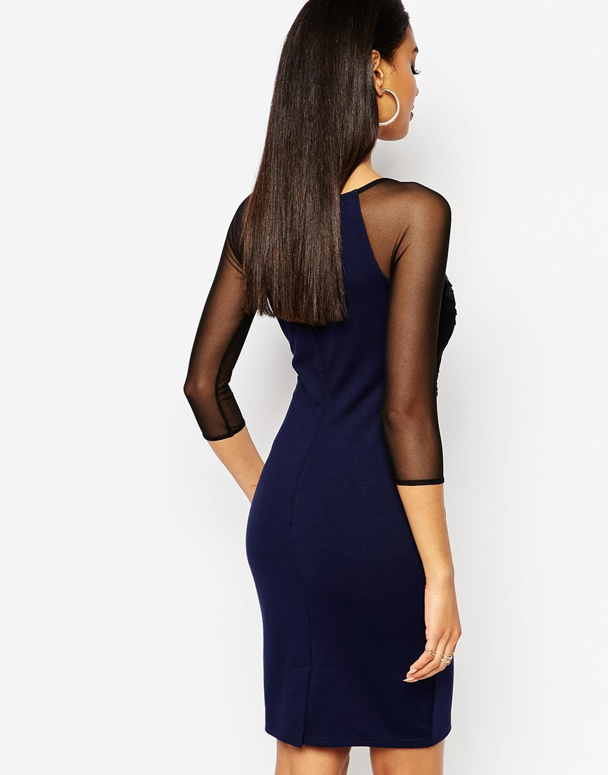 Navy blue bodycon dress with frill sleeves