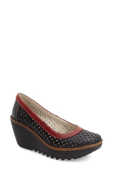 46cc0516684 Lyst - Fly London  yare  Perforated Wedge Pump in Black