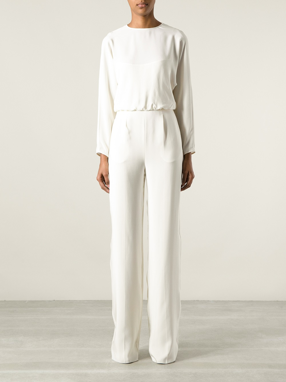 Valentino Long Sleeve Jumpsuit in White | Lyst