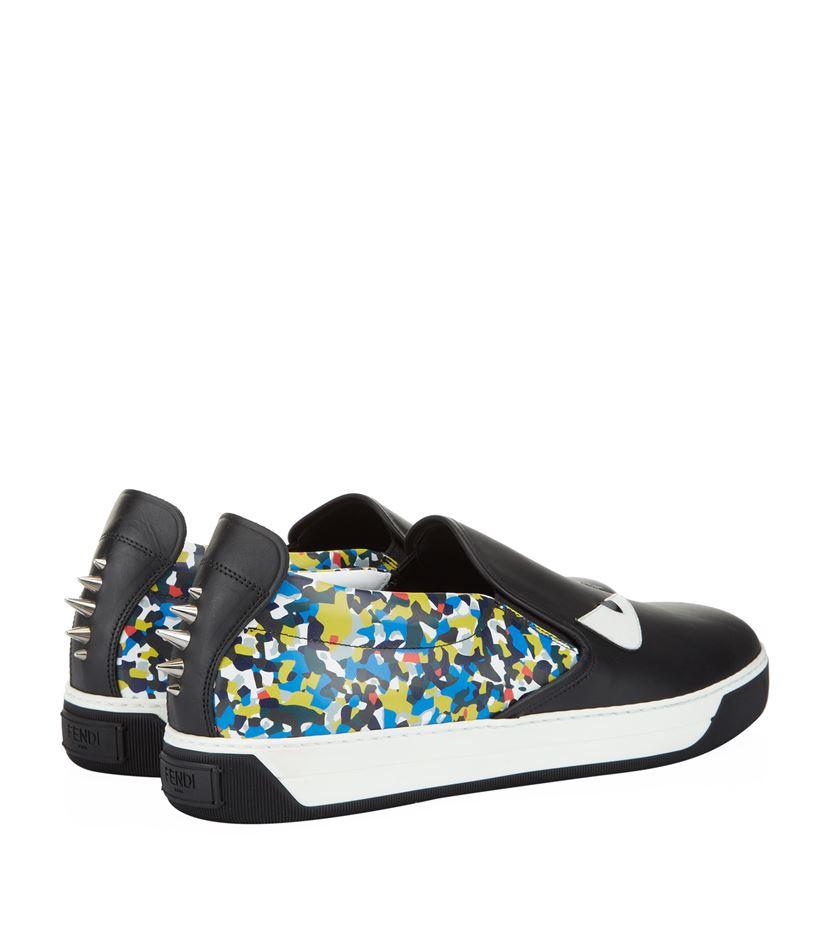 10690995 Fendi Black Monster Eyes Slip-on Sneaker for men