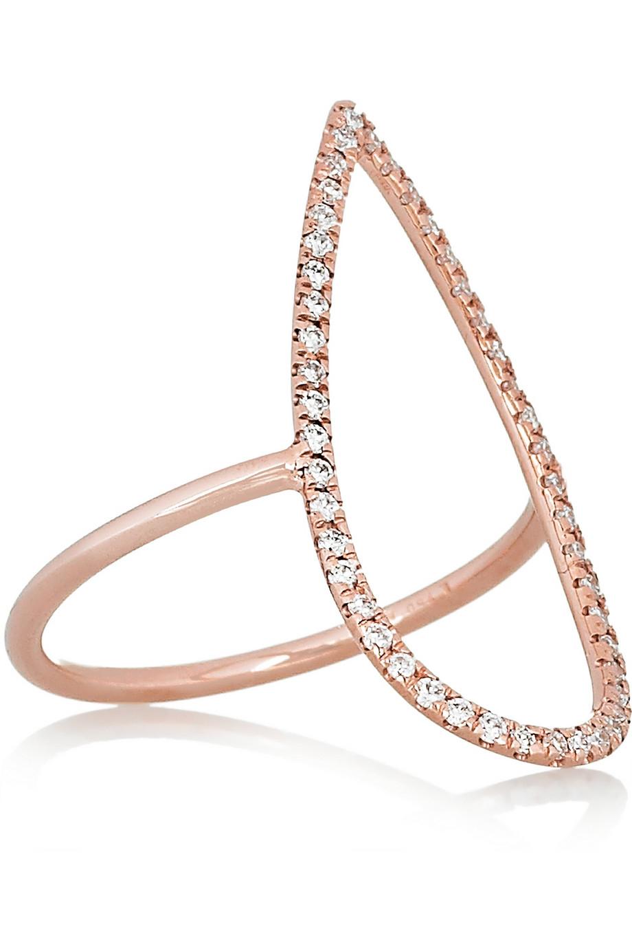 Triple 18 Carats Or Rose Anneau De Saphir Et De Diamant - 6 Kordas Diane mwFMfs6M
