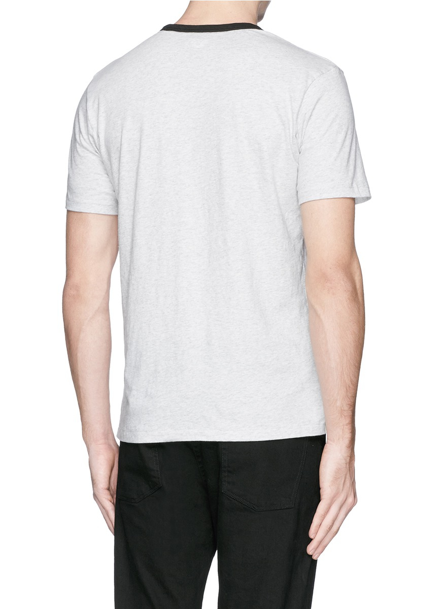 Rag bone 39 ringer 39 contrast collar t shirt in gray for for Rag and bone t shirts