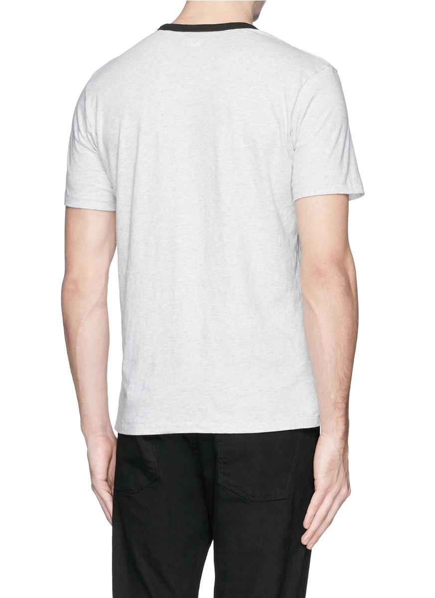 T Shirt Rag Dispenser ~ Lyst rag bone ringer contrast collar t shirt in gray