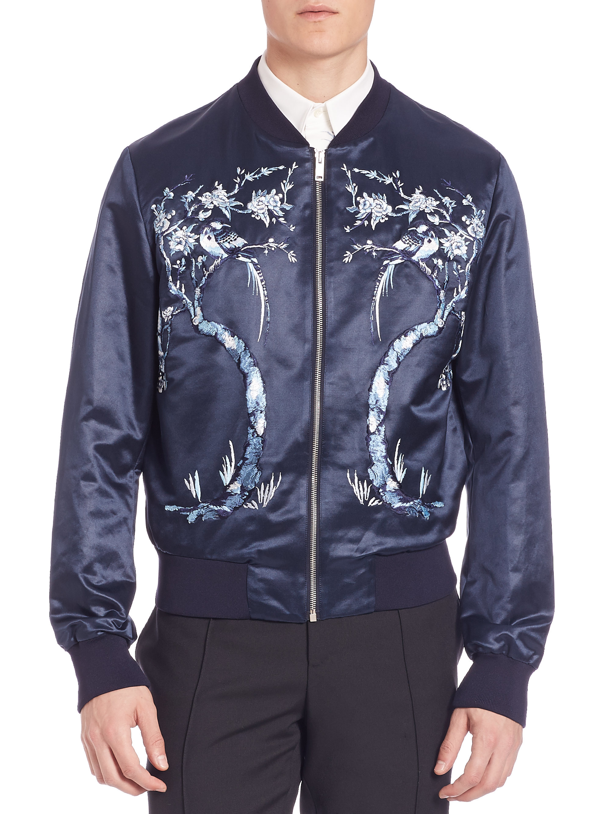 Alexander mcqueen Embroidered Silk Bomber Jacket in Blue for Men ...