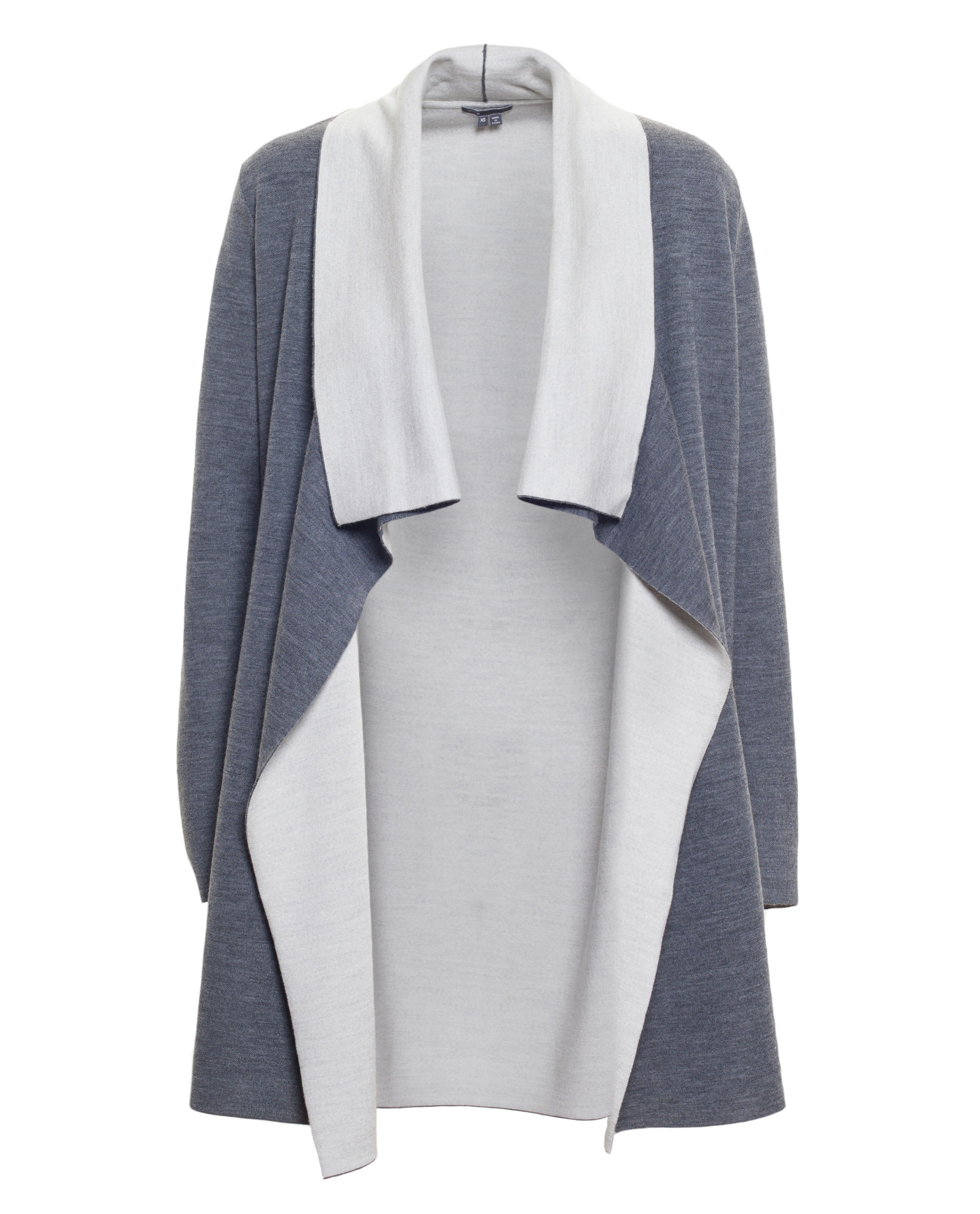 Vince Two-tone Drape Cardigan in Blue | Lyst