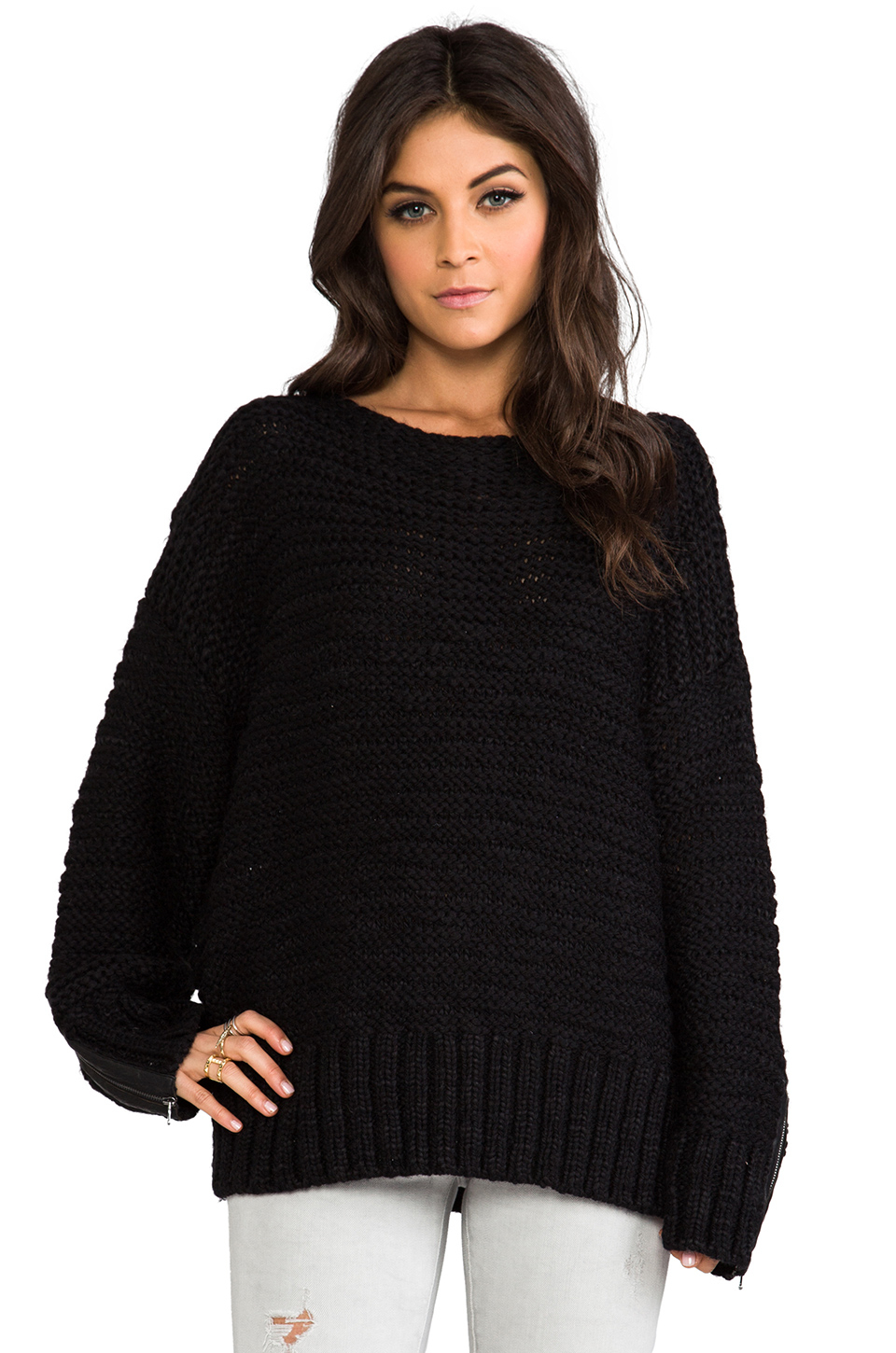 Shae Oversized Sweater in Black   Lyst