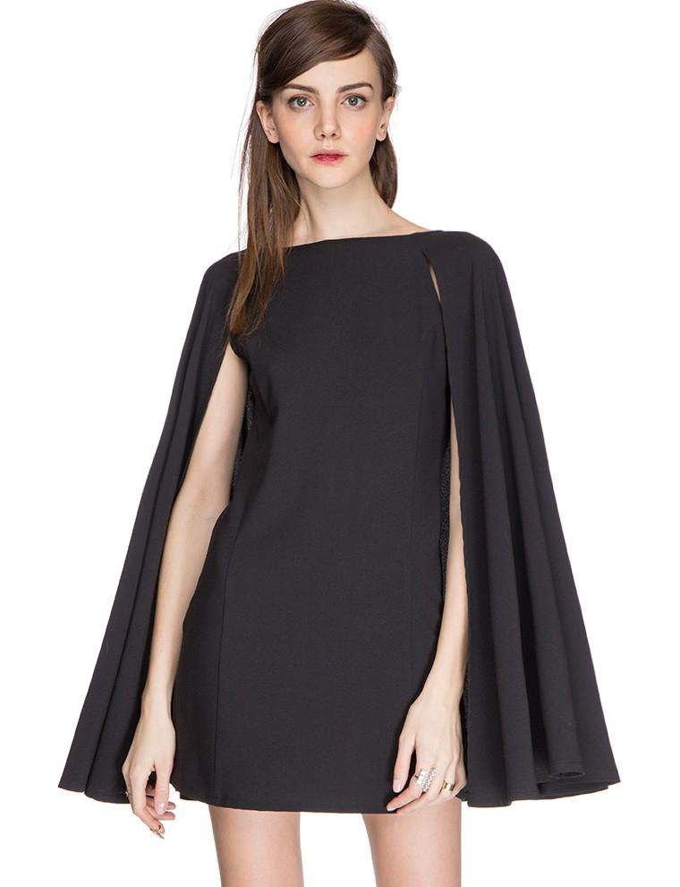 Pixie market Nadya Little Black Cape Dress in Black