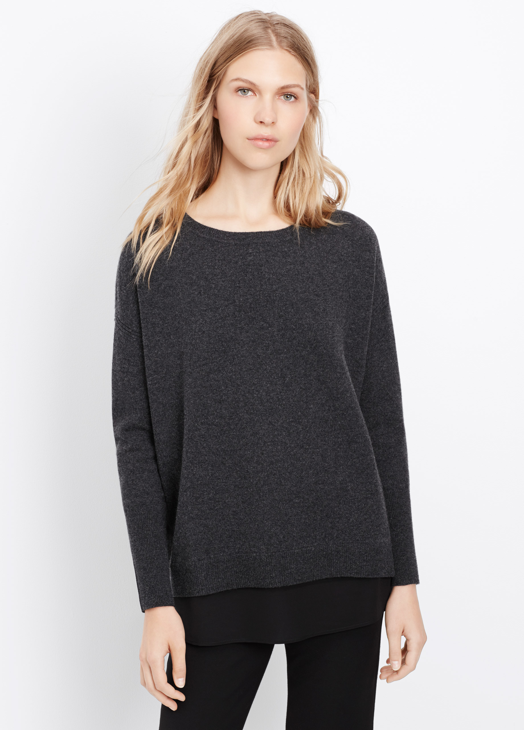 Vince Cashmere Mixed Media Open Back Sweater In H Carbon