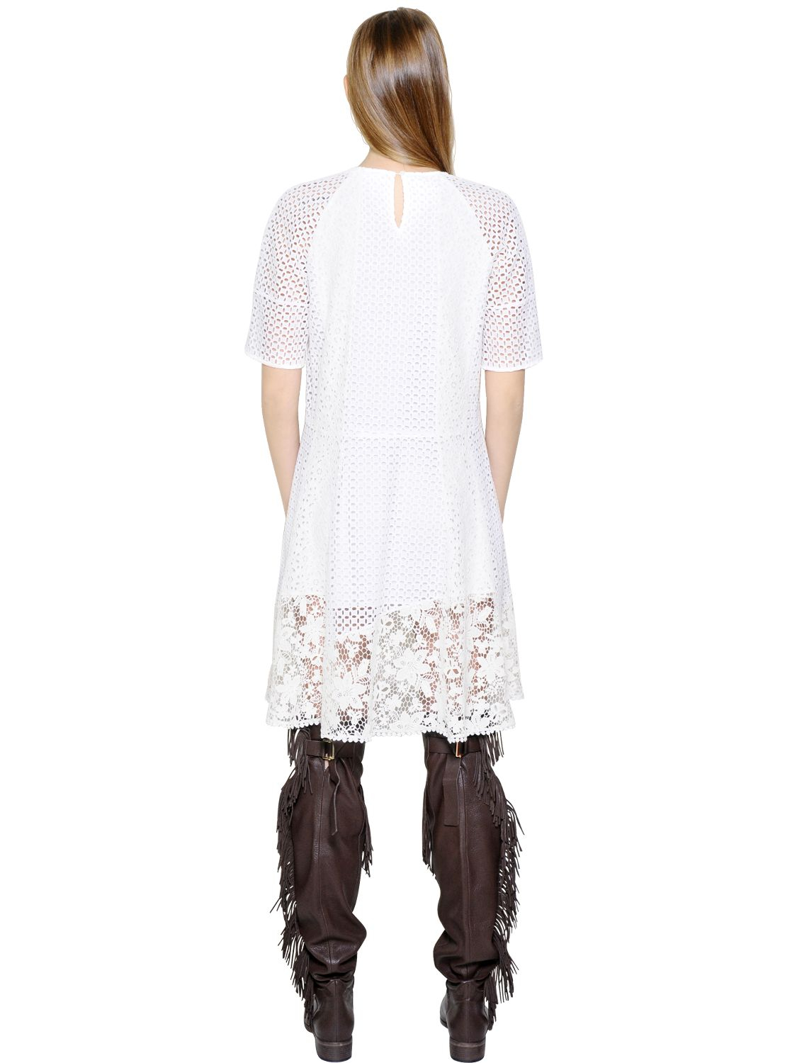 83fae9f5d9519 See By Chloé Patchwork Cotton Lace & Eyelet Dress in White - Lyst