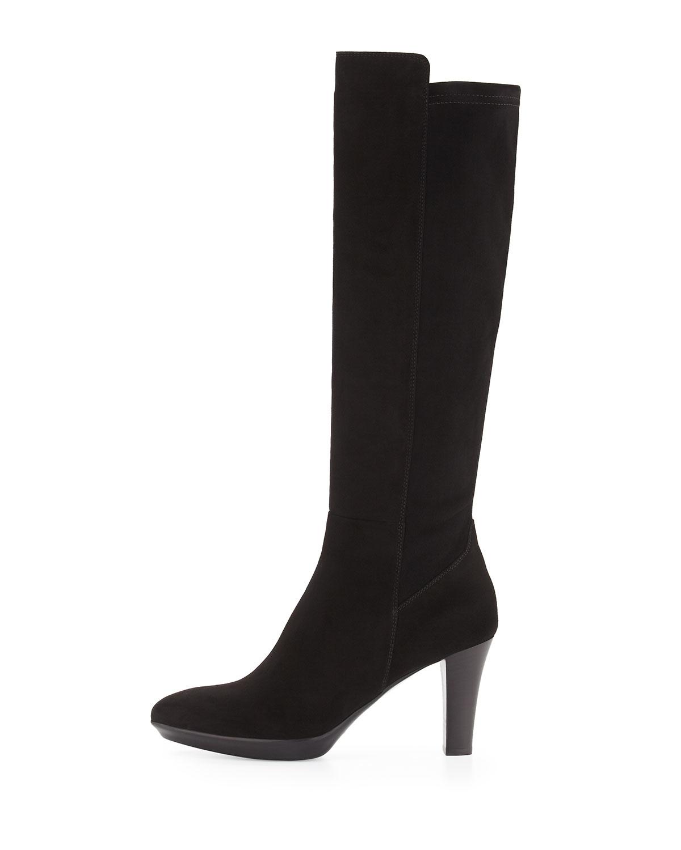 Lyst Aquatalia Raine Stretch Suede Knee Boots In Black
