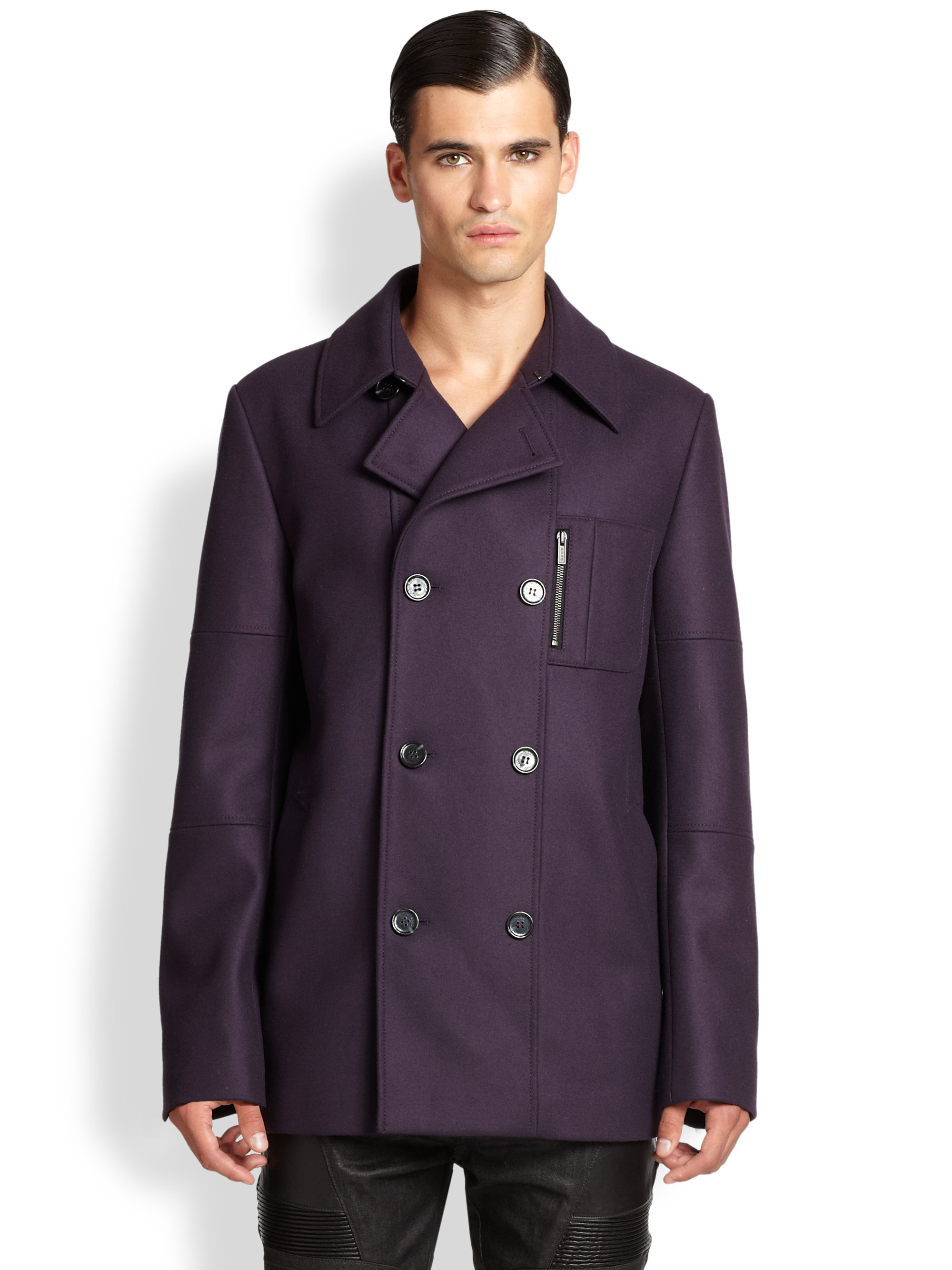 Hugo Double-breasted Stretch Wool Peacoat in Purple for Men | Lyst