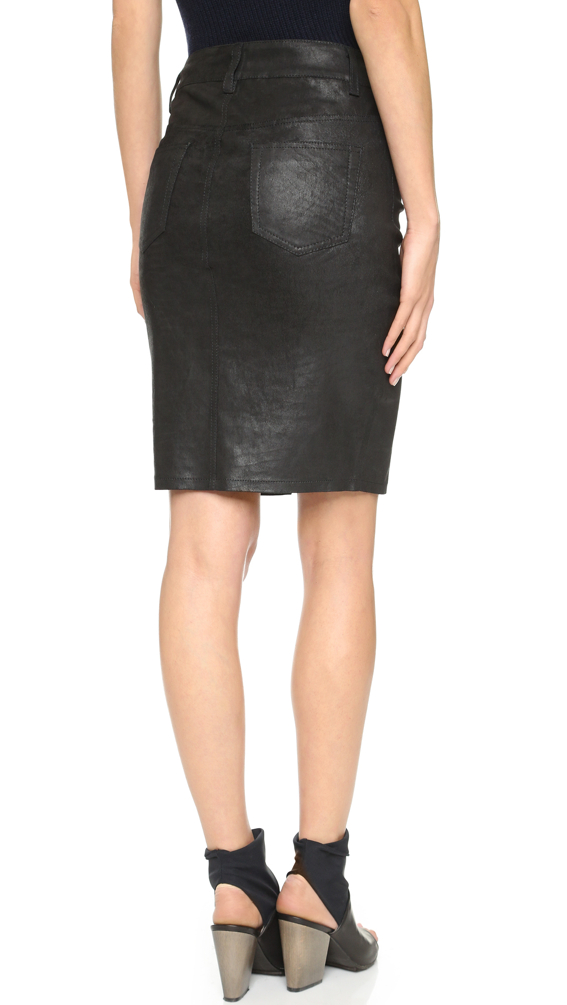joe s slit leather pencil skirt in black lyst