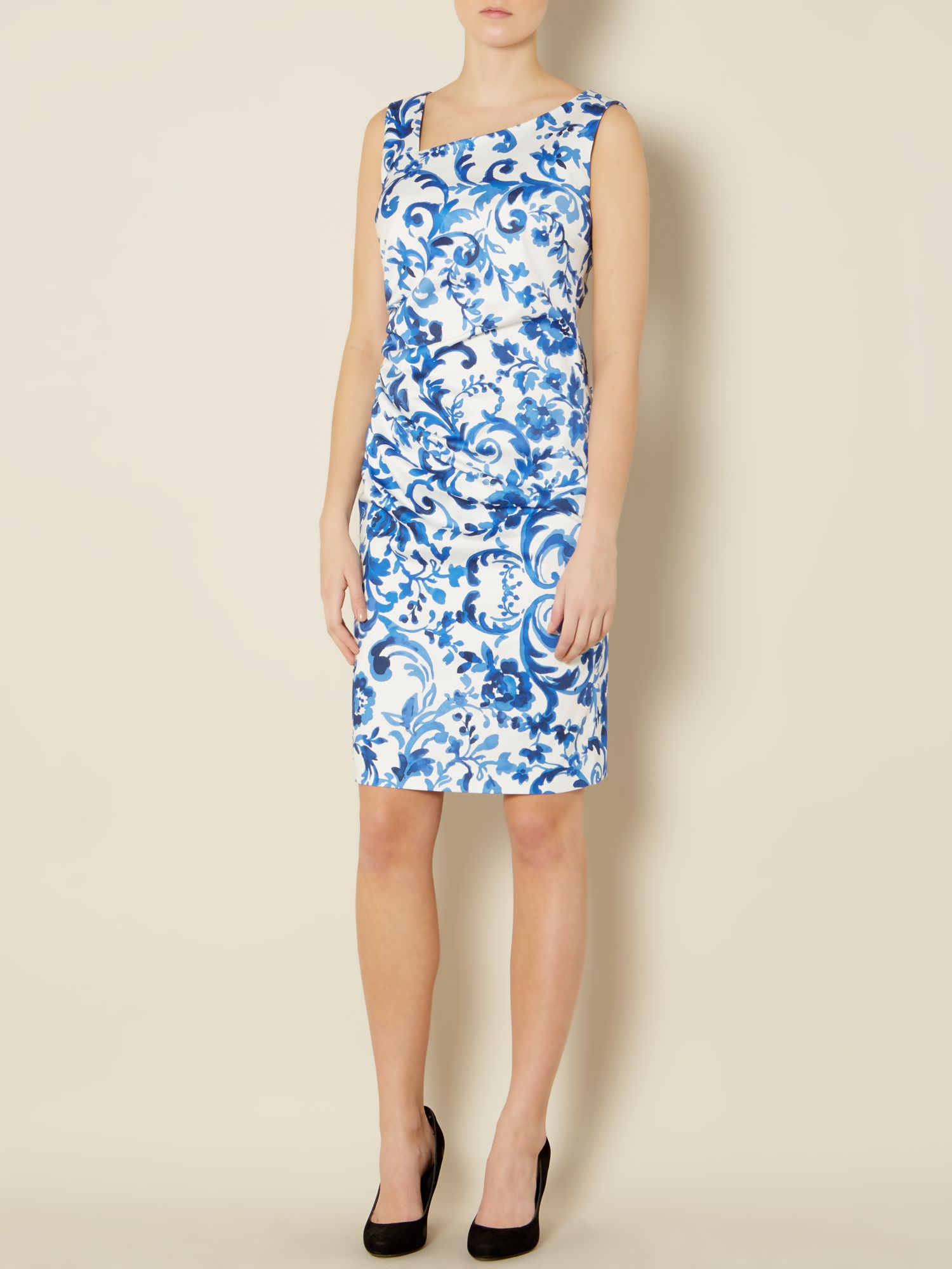 Max Mara Studio Divo Floral Print Dress With Ruched Side