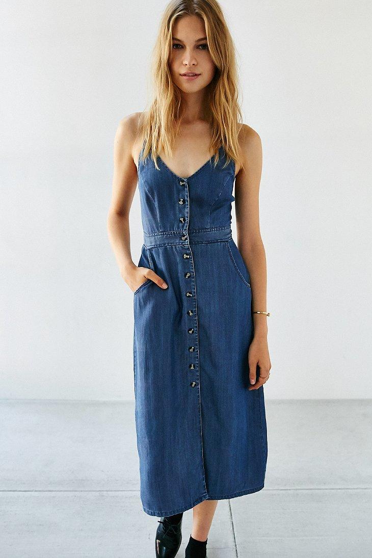 Kimchi Blue Denim Midi Dress In Blue Lyst