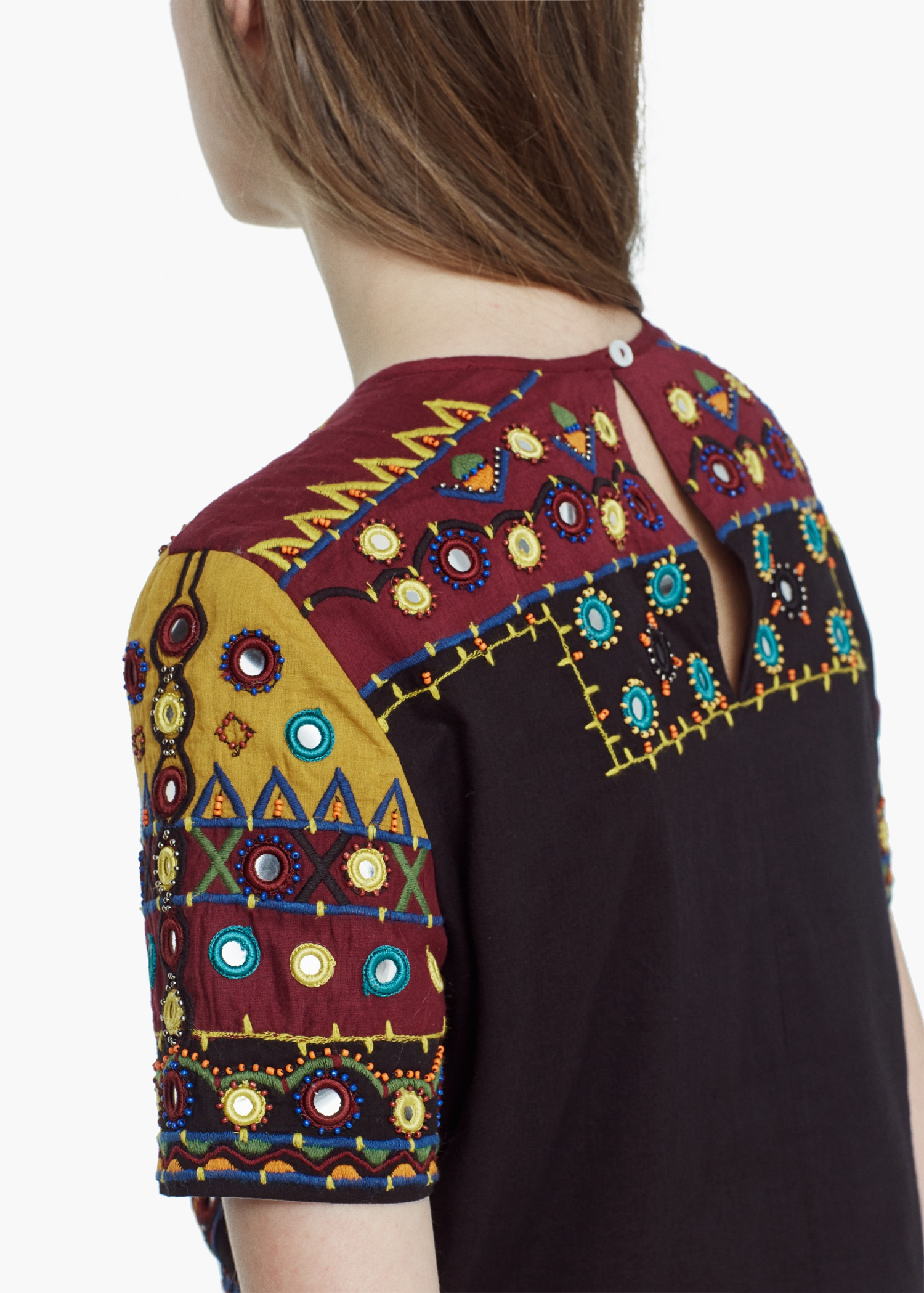 Mango bead embroidered top in black lyst