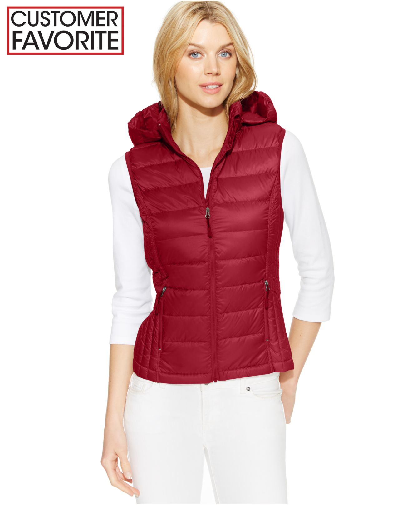 32 Degrees Hooded Packable Down Vest In Red Lyst