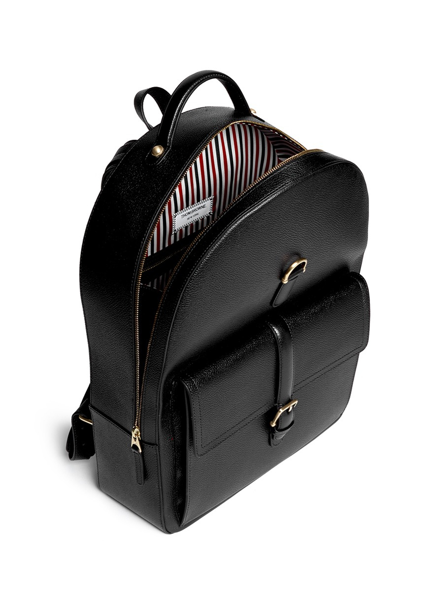 1358ae4396 Lyst - Thom Browne Stripe Lining Grainy Leather Backpack in Black ...