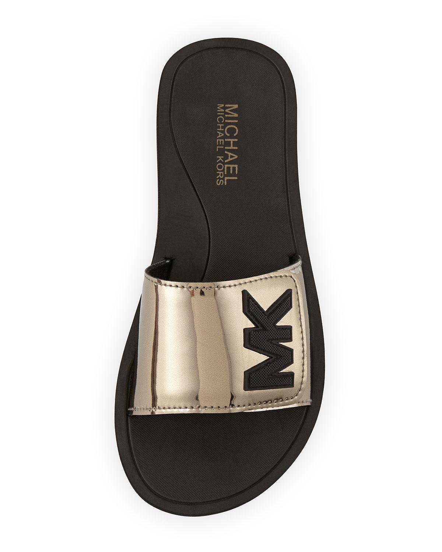 ed9925b4d377 Lyst - MICHAEL Michael Kors Mk Sport Slide Sandals in Metallic
