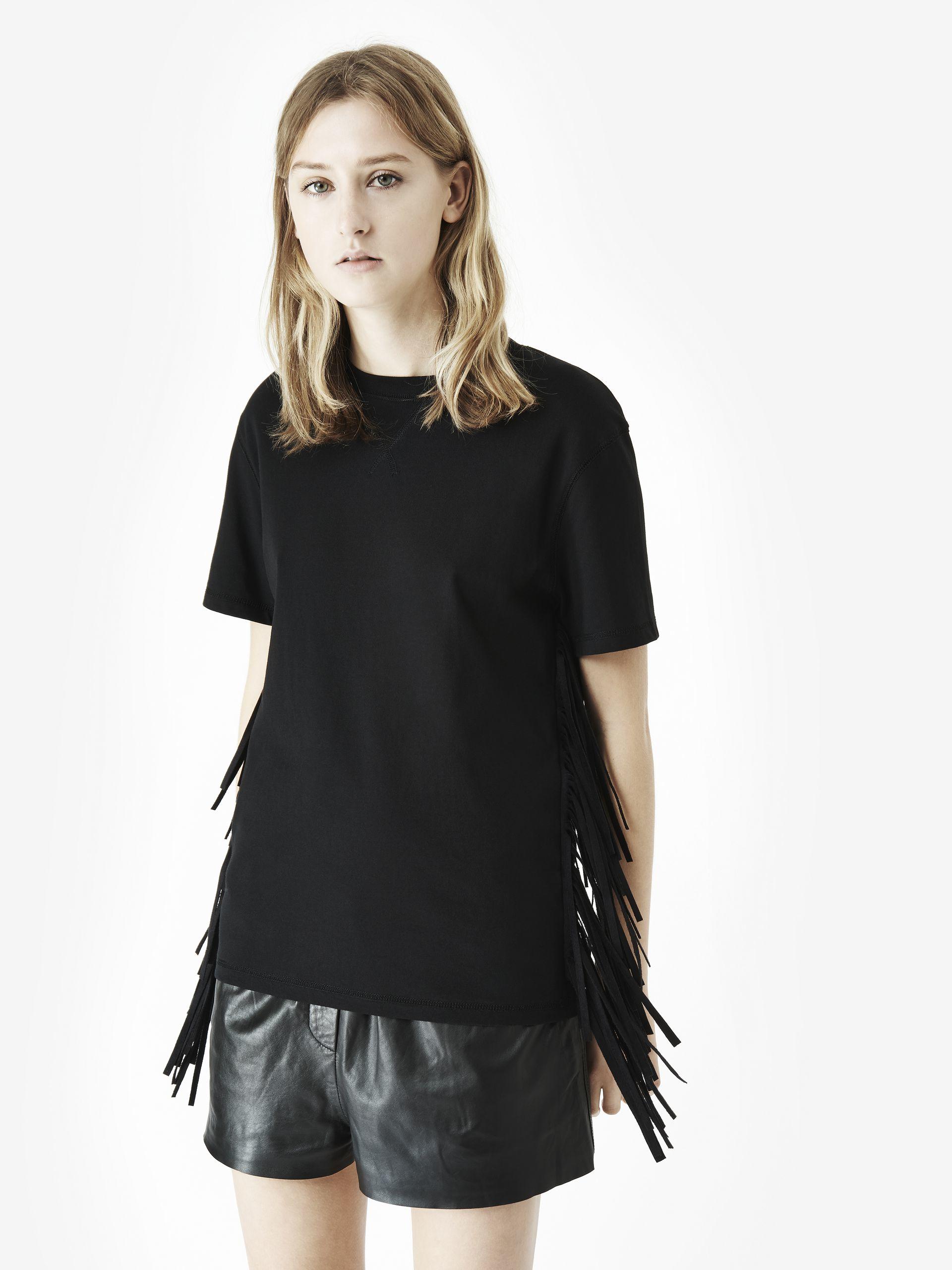 mcq fringe t shirt in black lyst. Black Bedroom Furniture Sets. Home Design Ideas