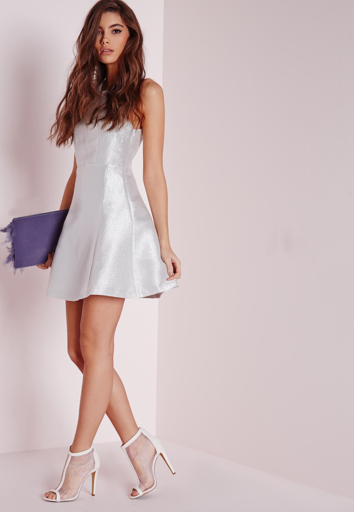 dbb251b20a6c Lyst - Missguided Glitter Skater Dress Silver in White