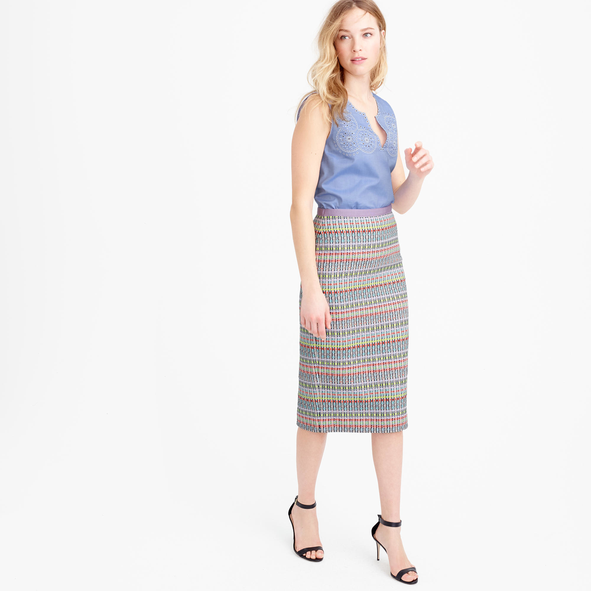 89f76dd5b113 J.Crew Collection Neon And Metallic Tweed Pencil Skirt in Gray - Lyst