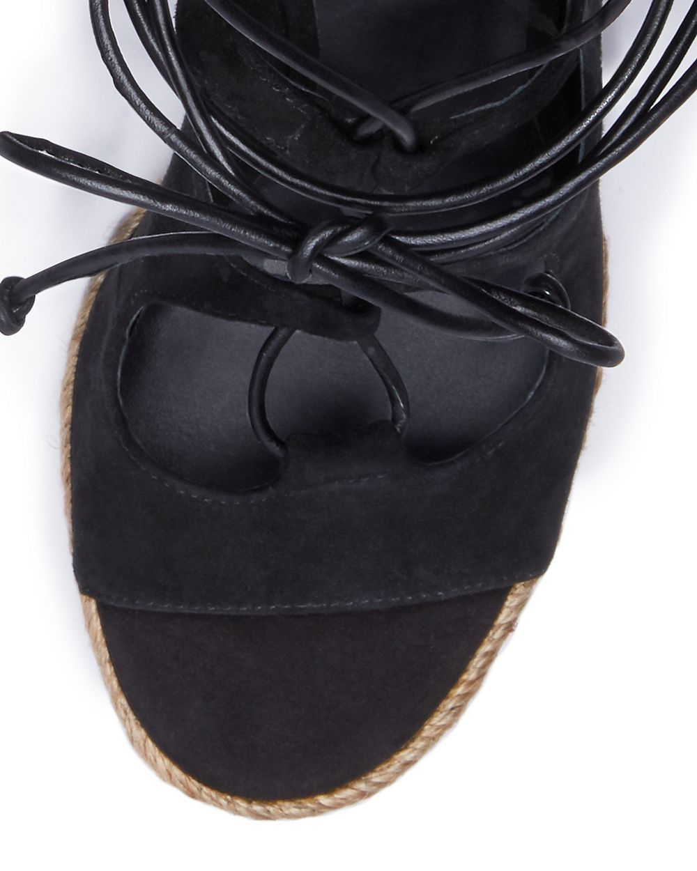Lyst Tory Burch Raya Lace Up Wedge In Black