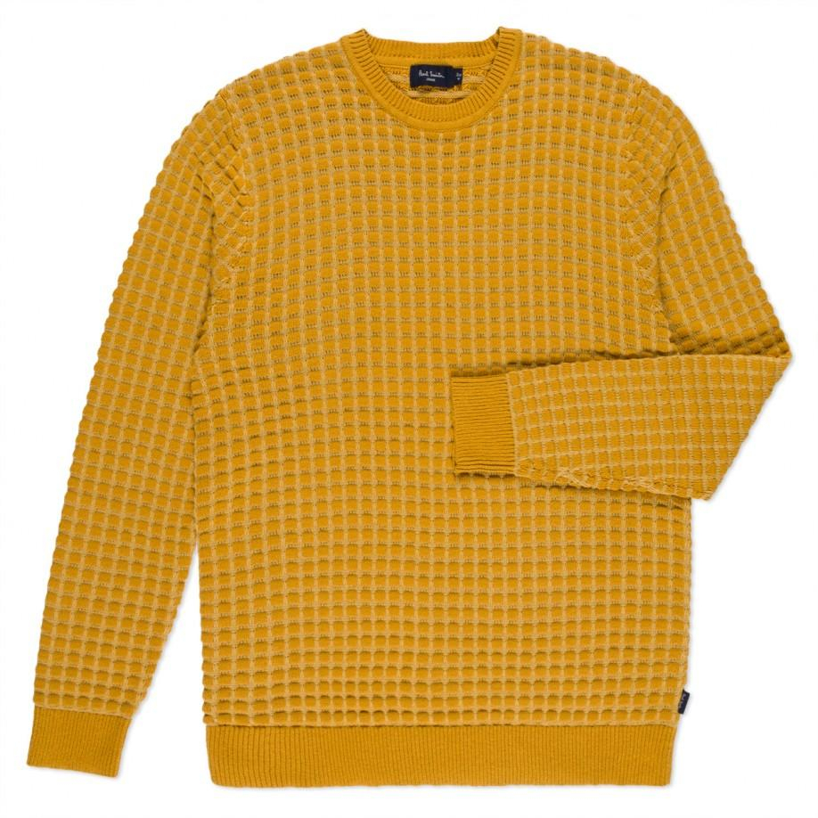 Paul smith Mustard Square Tuck-Stitch Cotton Sweater in Yellow for ...
