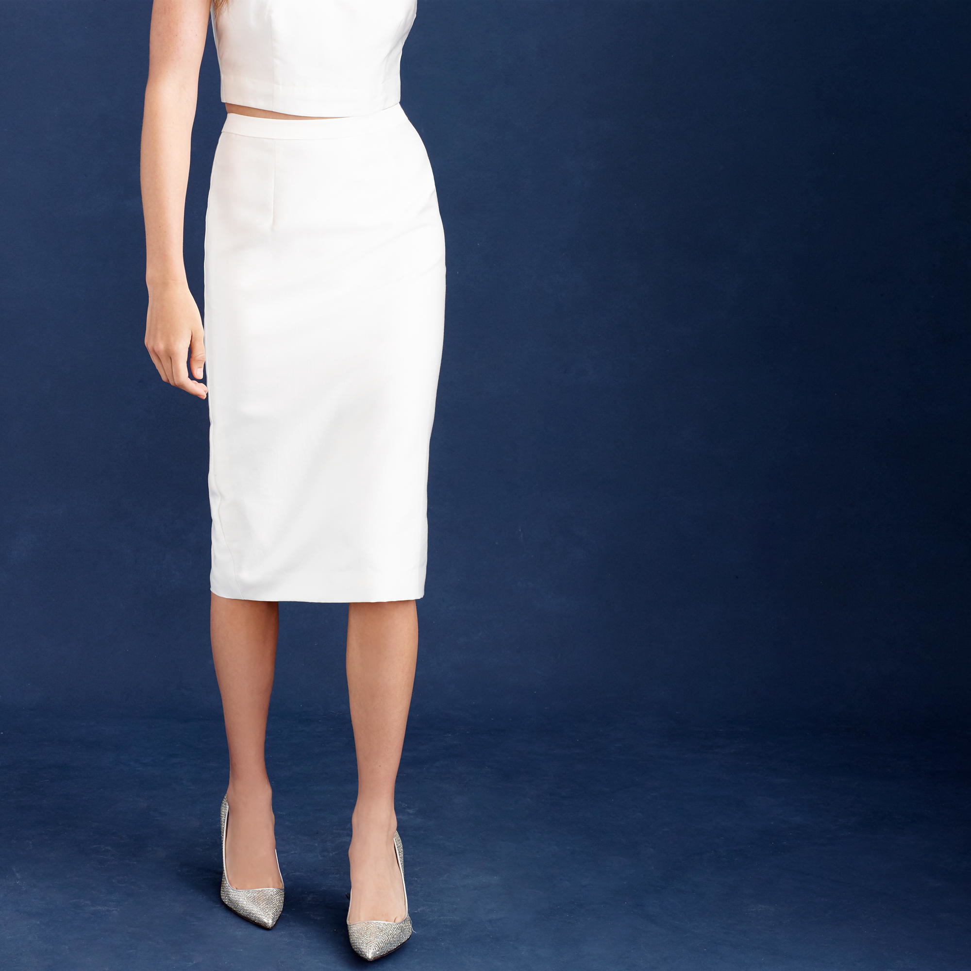 j crew collection pencil skirt in cotton silk twill in