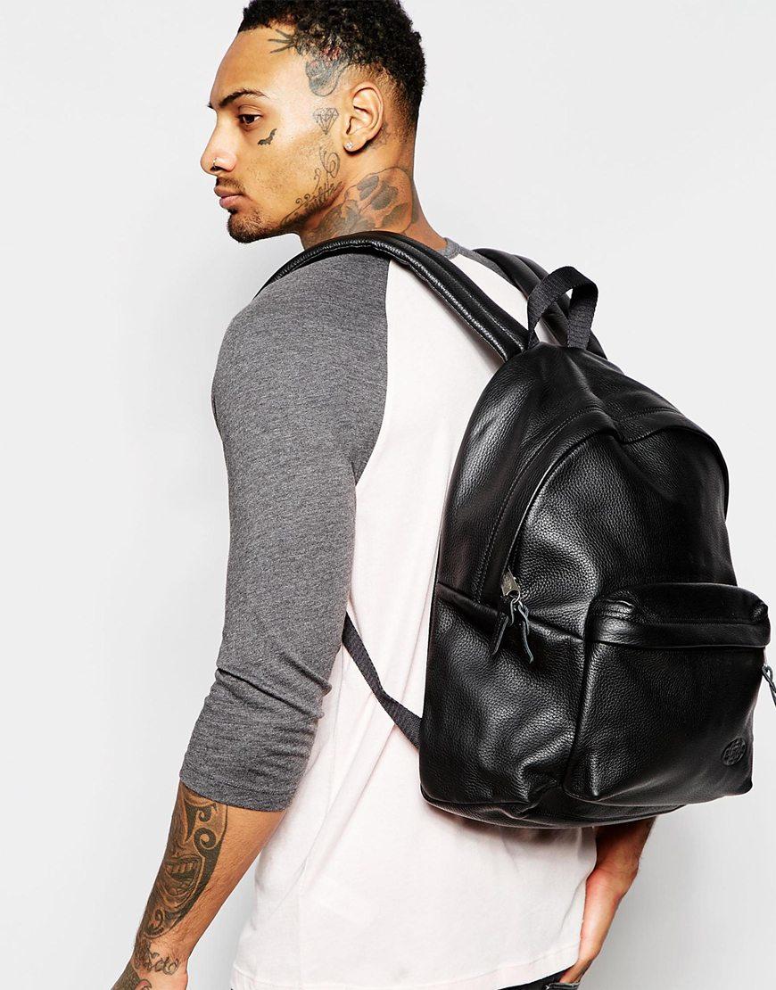 Eastpak Padded Pak'r Leather Backpack In Black For Men