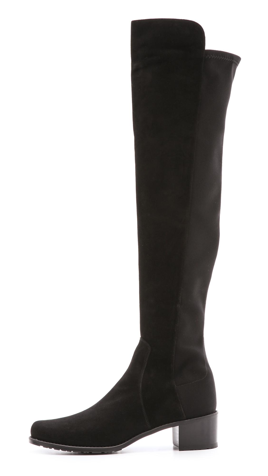 stuart weitzman reserve stretch suede boots in black lyst