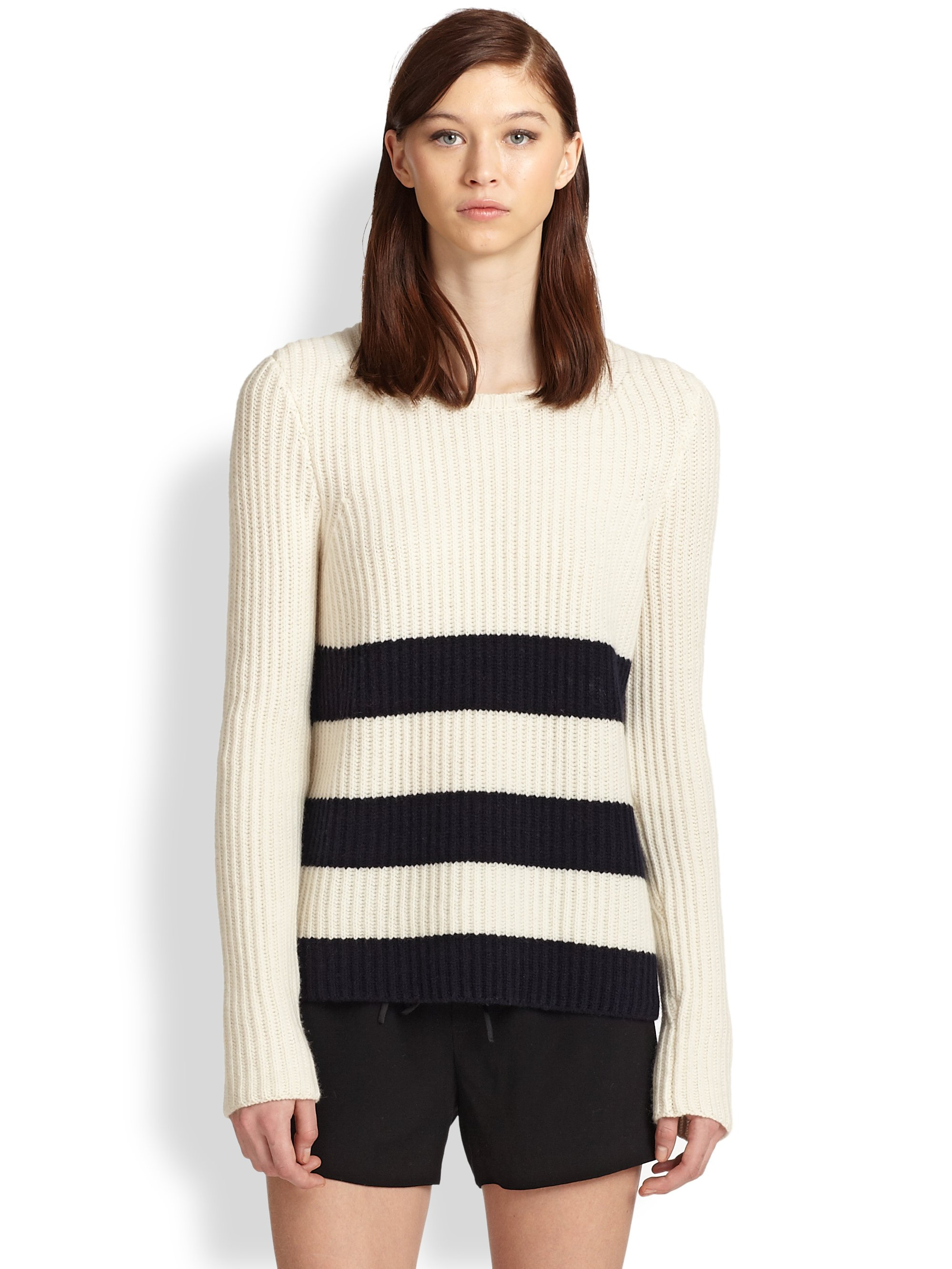 Vince Striped Ribbed Sweater in White | Lyst