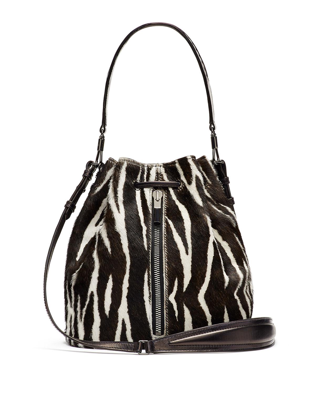 75f55ee36c07 Lyst - Elizabeth and James Cynnie Zebra-print Calf Hair Bucket Bag ...
