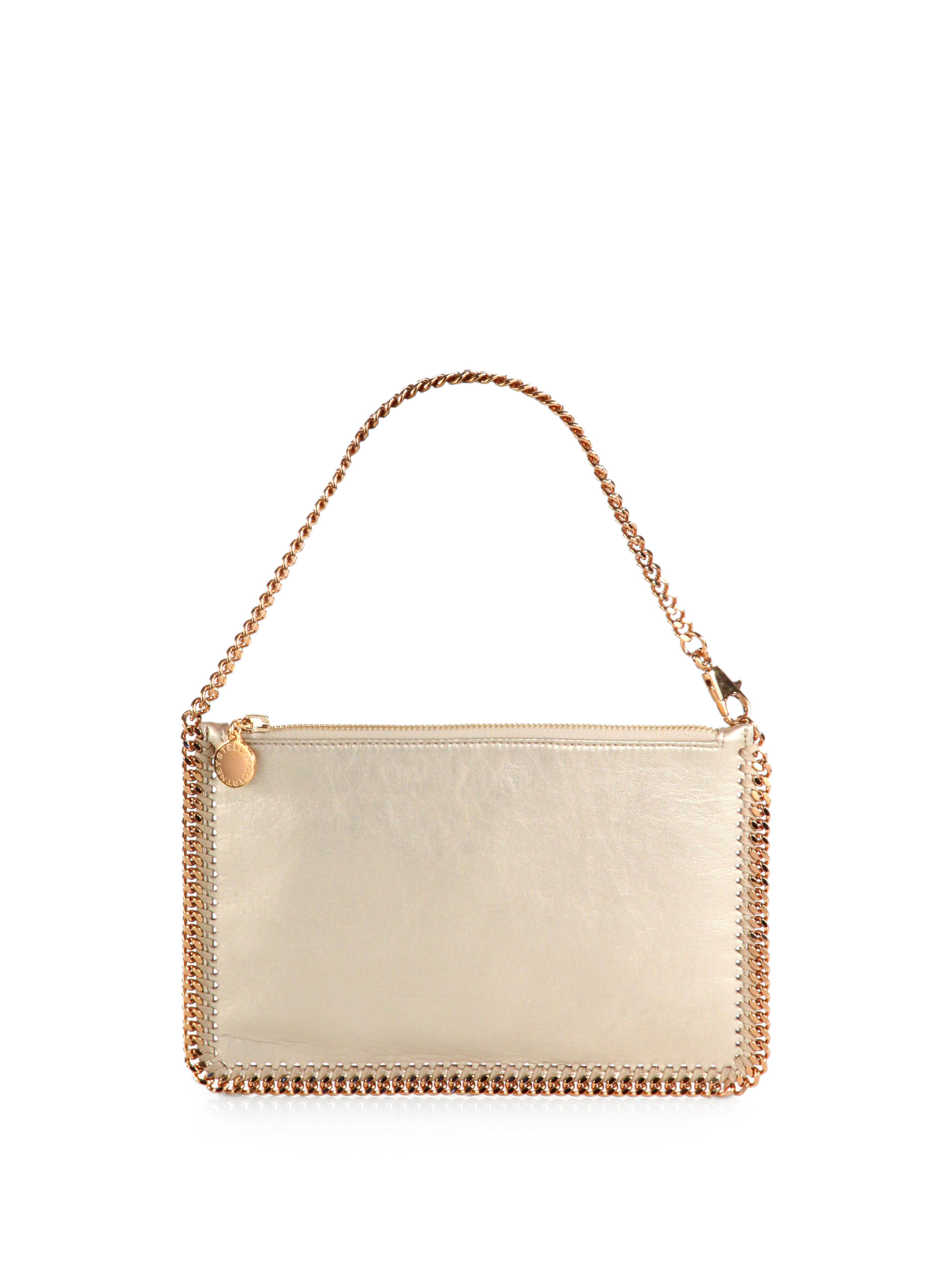 9e3dc74179 Lyst - Stella McCartney Falabella Metallic Convertible Clutch in ...