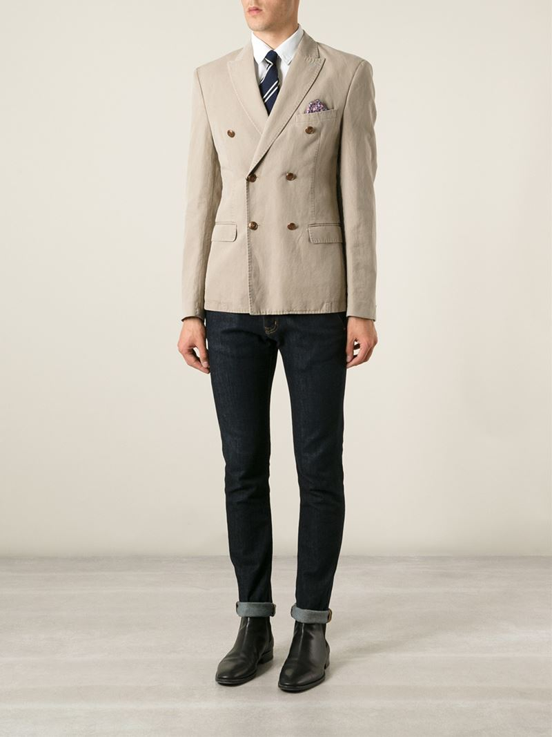 Sand Casual Double Breasted Blazer in Natural for Men