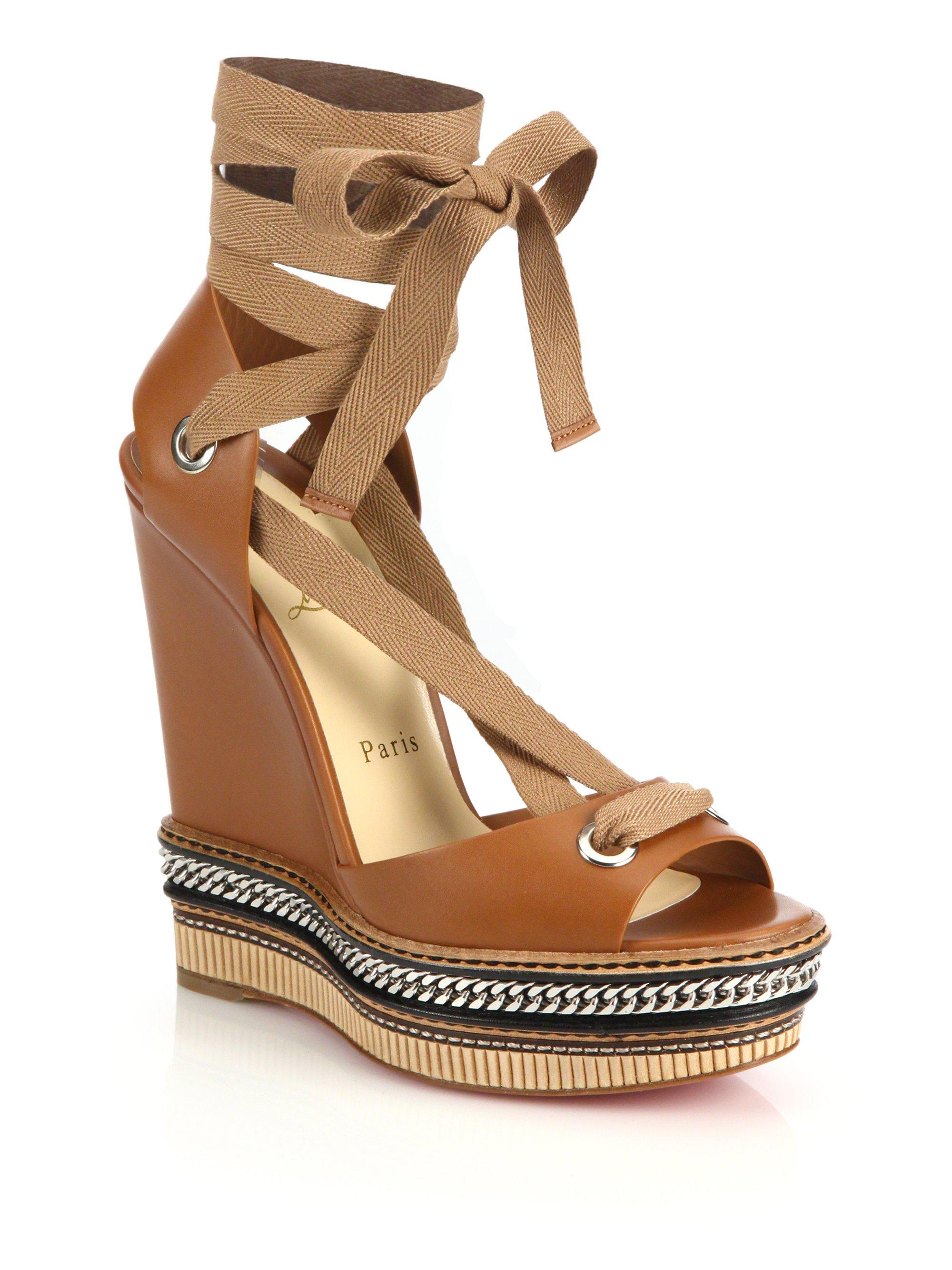 huge discount 0e9cc ed36e Christian Louboutin Brown Tribuli Chain-detail Leather Wedge Sandals