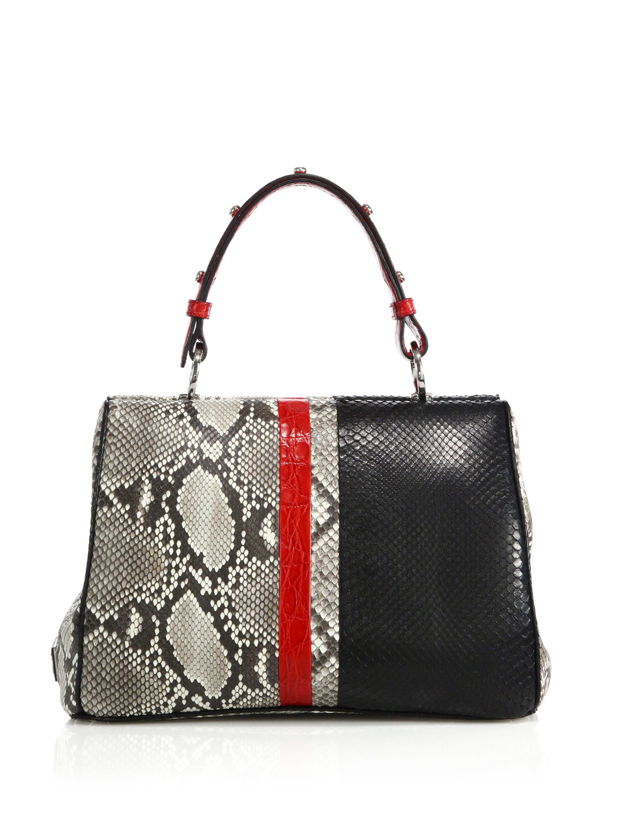 21cb4109460910 ... 50% off lyst prada python crocodile baiadera frame bag in black f1db7  1c2e7
