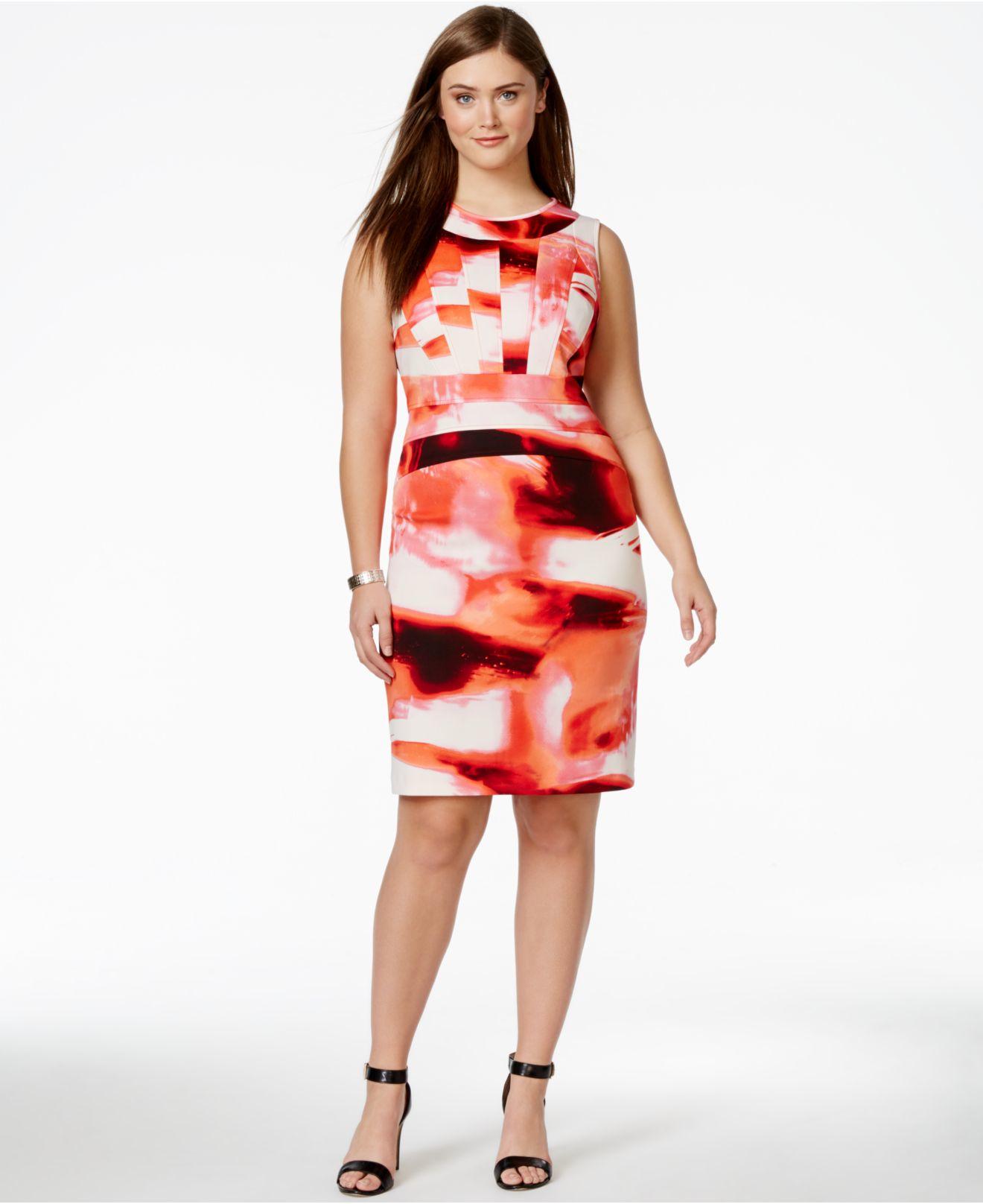Plus Size Abstract-print Sheath Dress