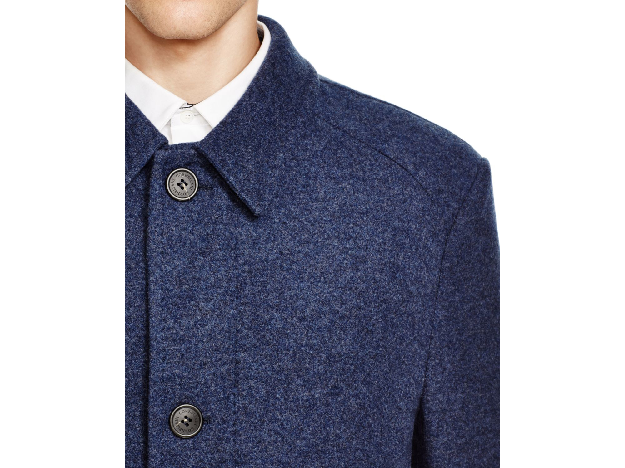 Corneliani Solid Wool/cashmere Car Coat in Blue for Men | Lyst