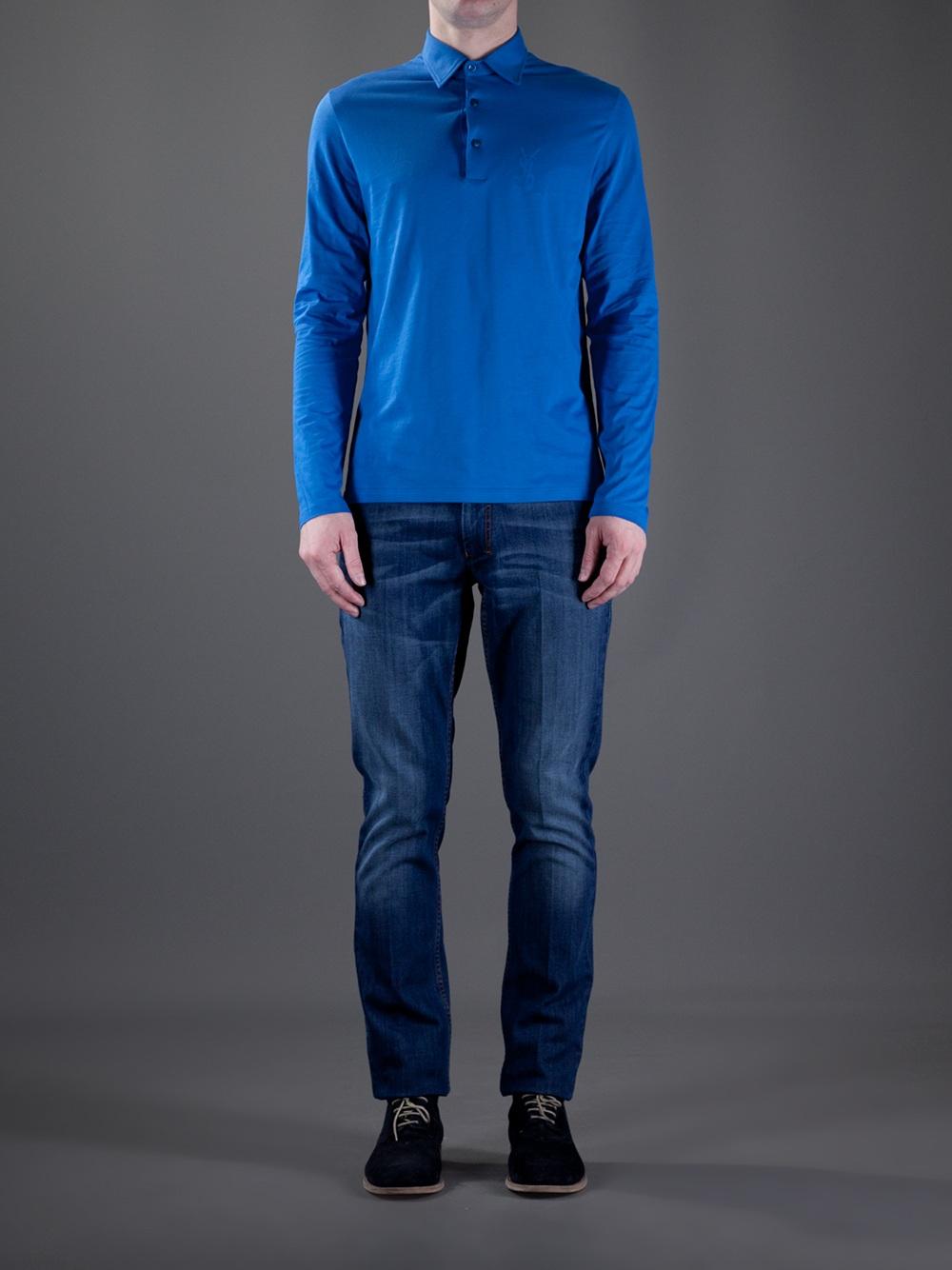Saint laurent long sleeve polo shirt in blue for men lyst for Yves saint laurent white t shirt