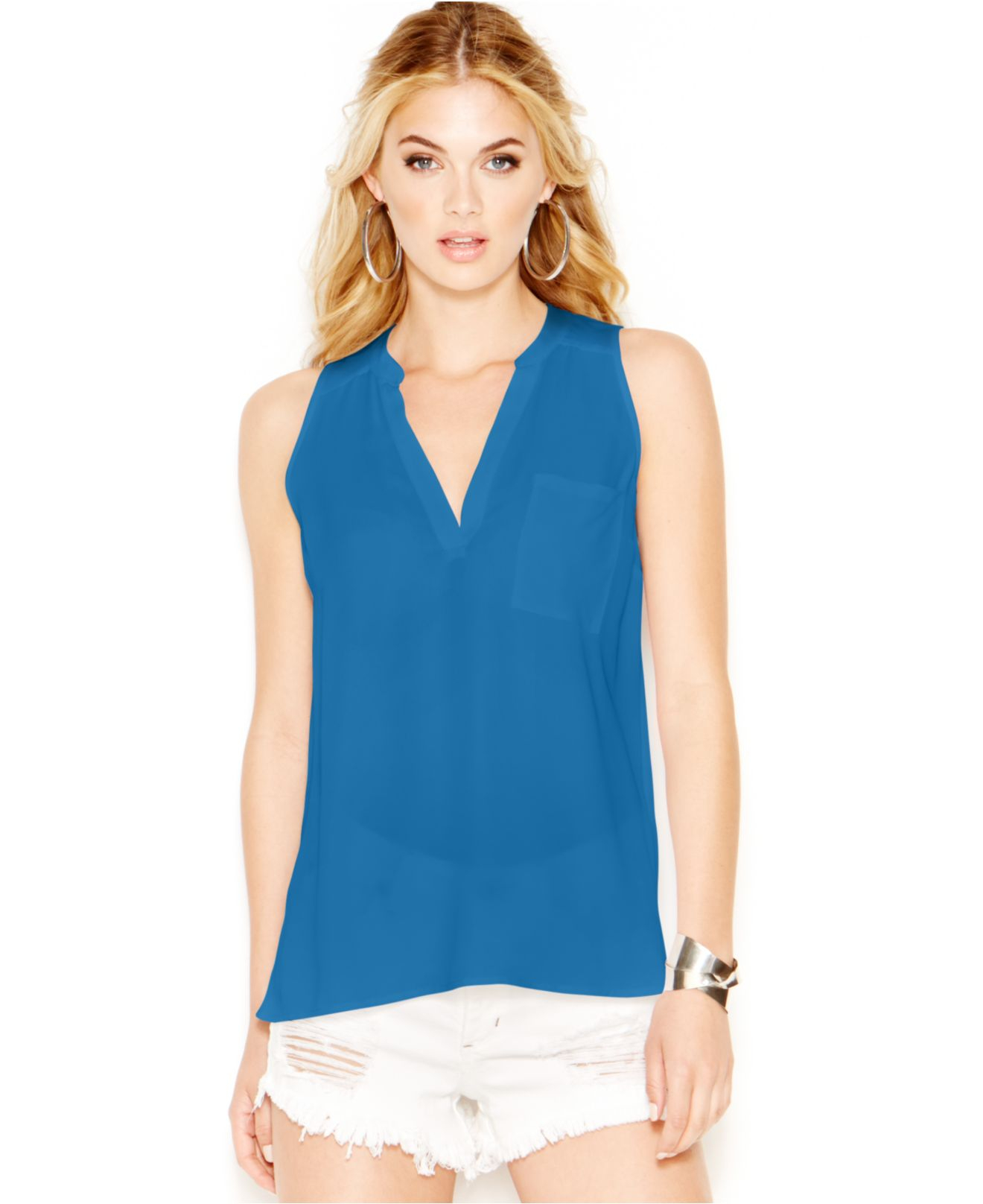 Guess Sheer Sleeveless Blouse in Blue | Lyst