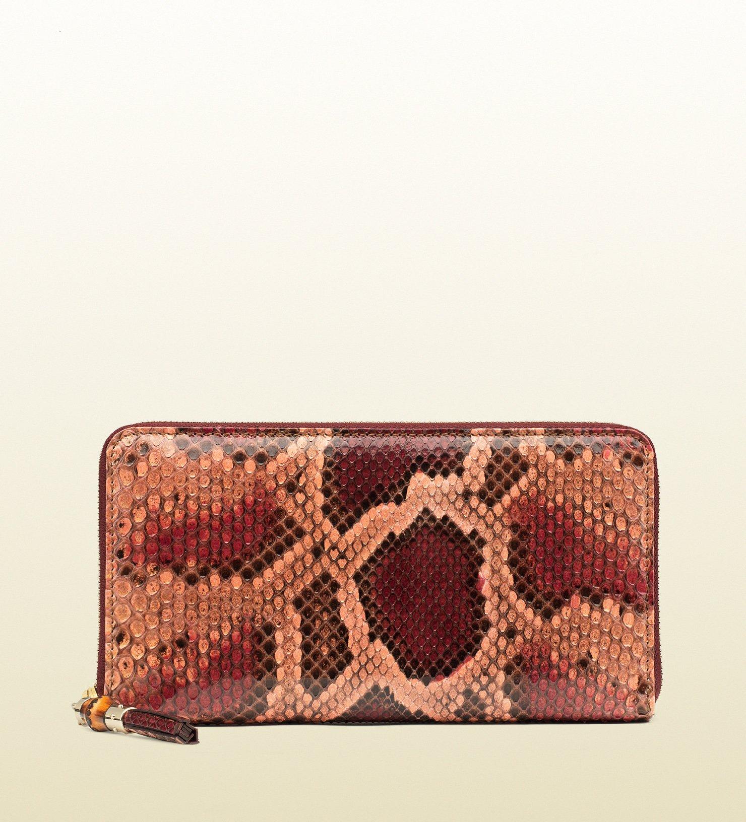 2ff802e344437a Gucci Python Tassel Zip Around Wallet in Pink - Lyst