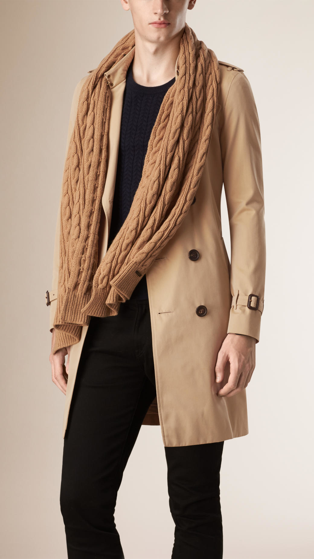 Lyst Burberry Wool Cashmere Cable Knit Scarf Camel In