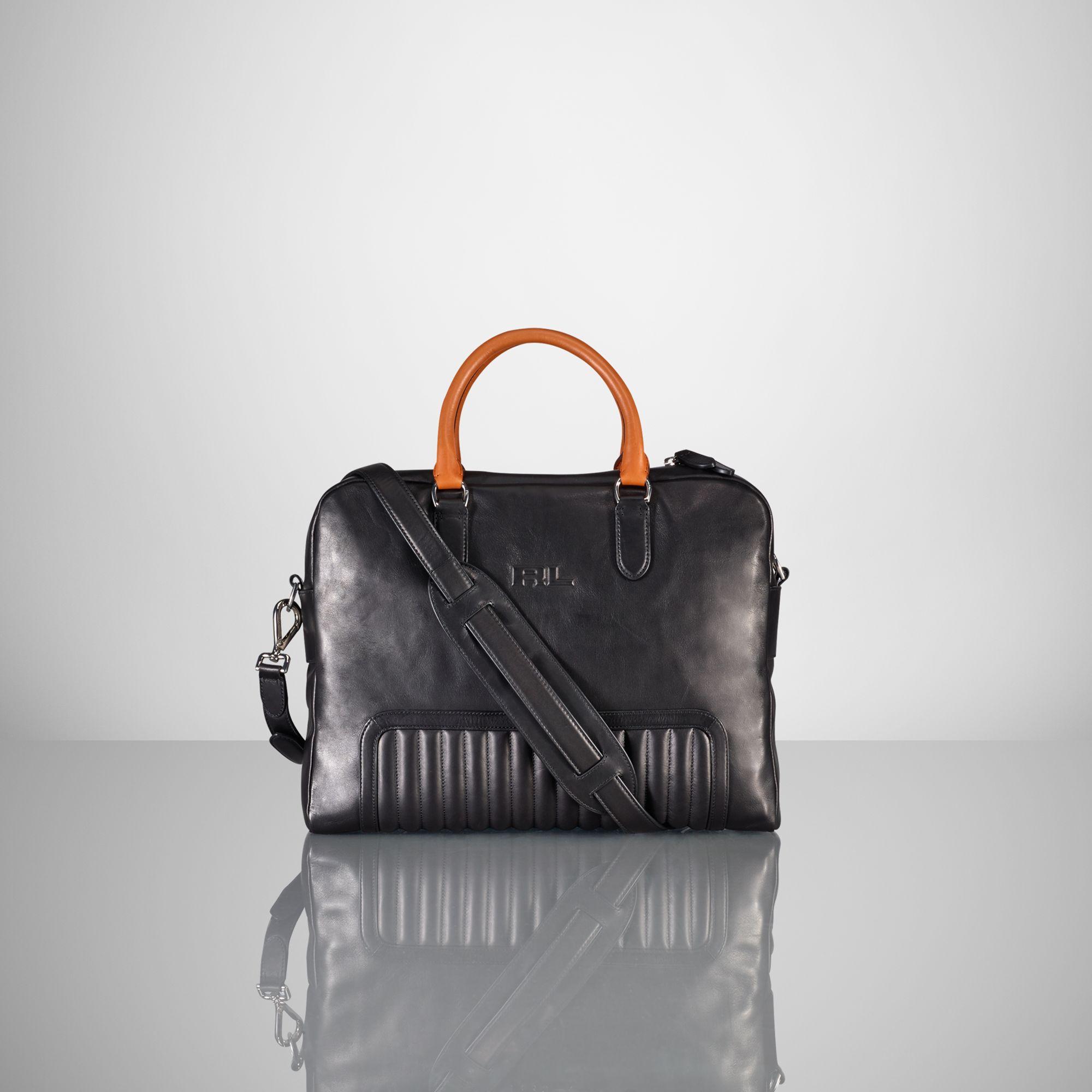 a18240c97511 Ralph Lauren Quilted Calfskin Briefcase in Black for Men - Lyst