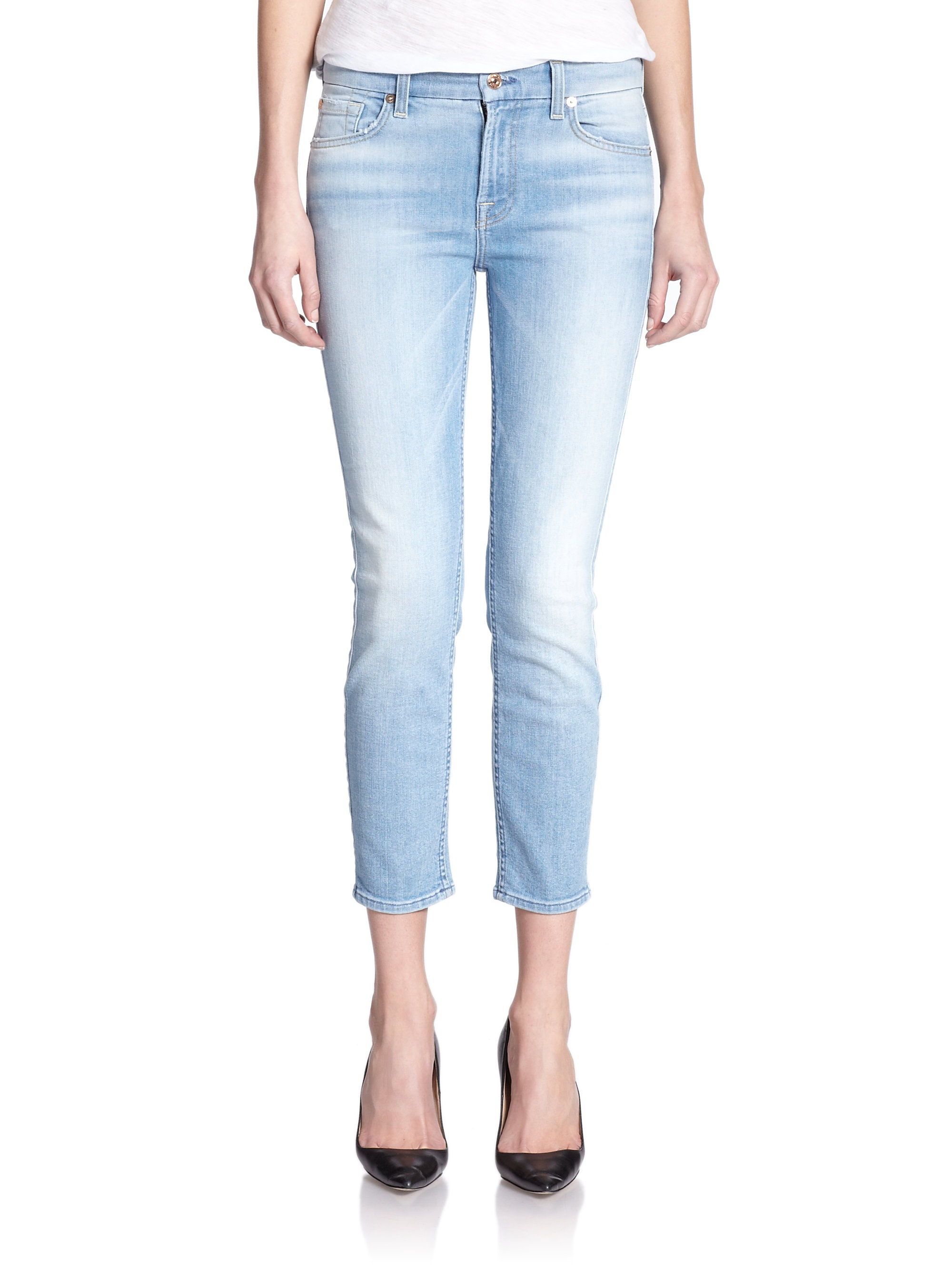 lyst 7 for all mankind kimmie cropped straight leg jeans in blue. Black Bedroom Furniture Sets. Home Design Ideas