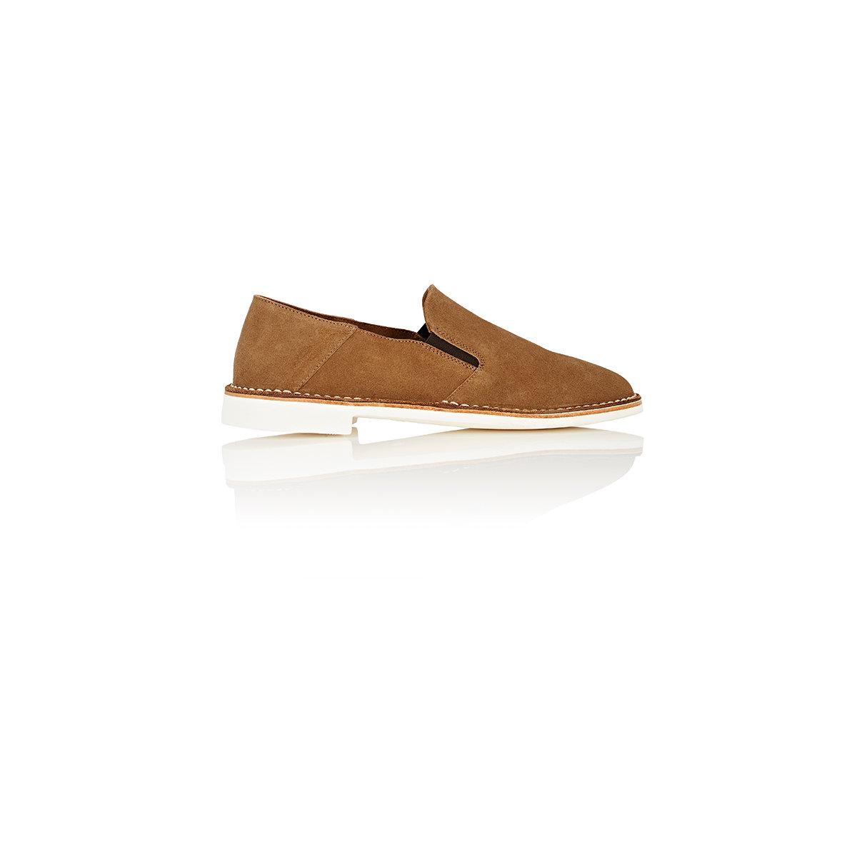Barneys new york Suede Venetian Loafers in Brown for Men | Lyst