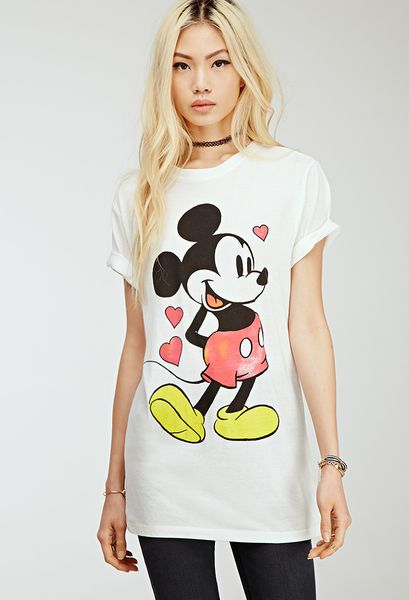 21 Mickey Mouse Nail Art Designs Ideas: Forever 21 Longline Mickey Mouse Tee In Beige (CREAM/BLACK