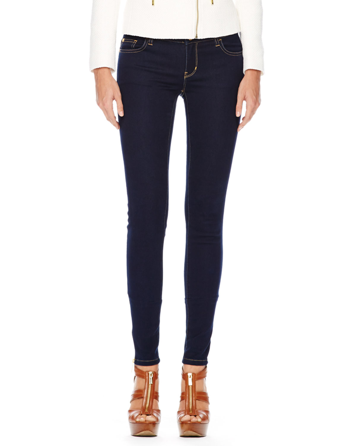 michael michael kors jet set legging jeans in blue twilight wash lyst. Black Bedroom Furniture Sets. Home Design Ideas