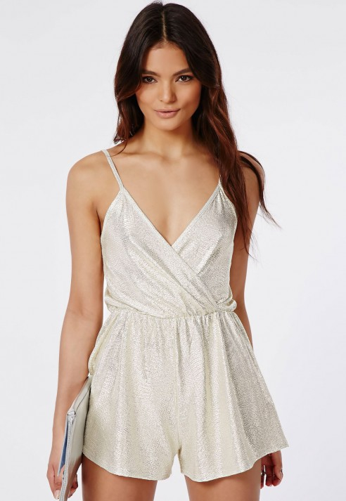 Missguided Metallic Strappy Wrap Front Playsuit Silver