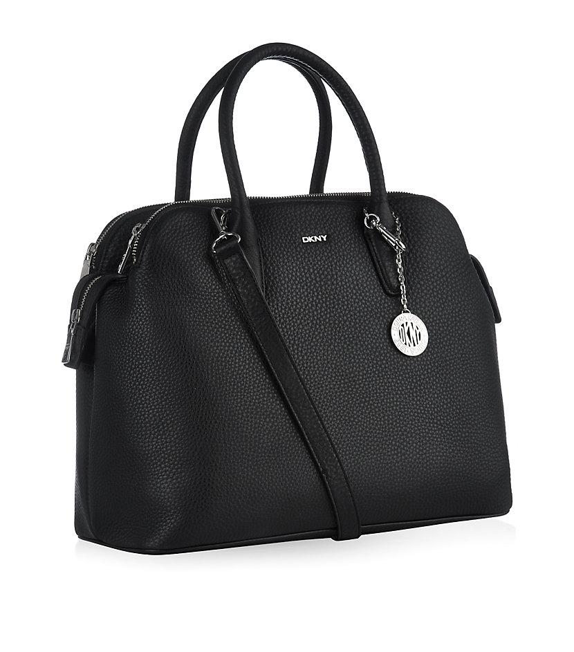 DKNY Leather Tribeca Tote Bag in Black